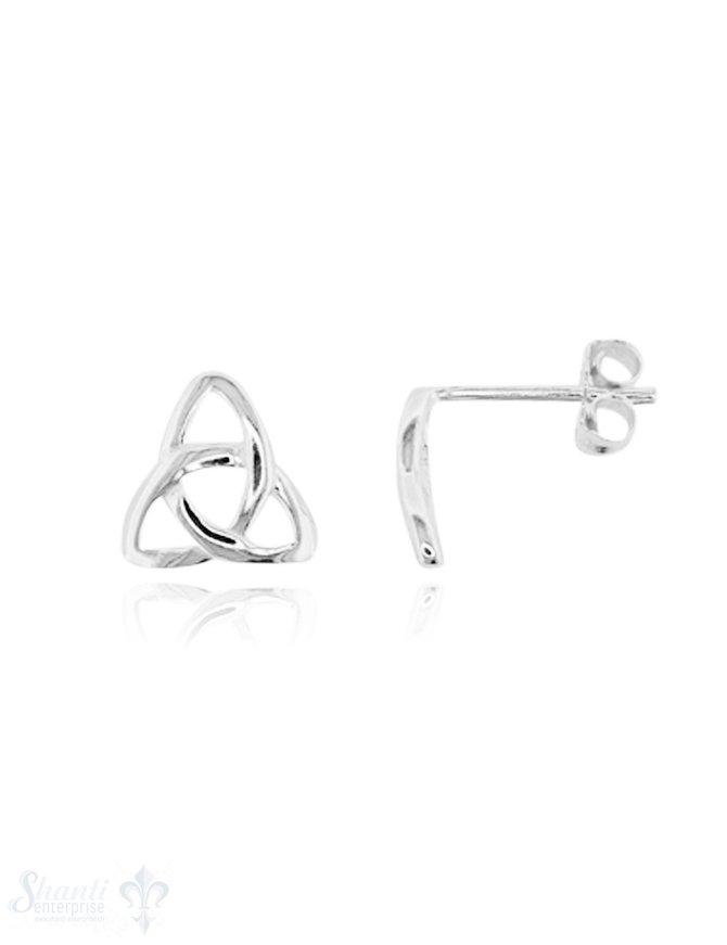 Ohrstecker:Dreieckknoten Silber 9 x 10 mm