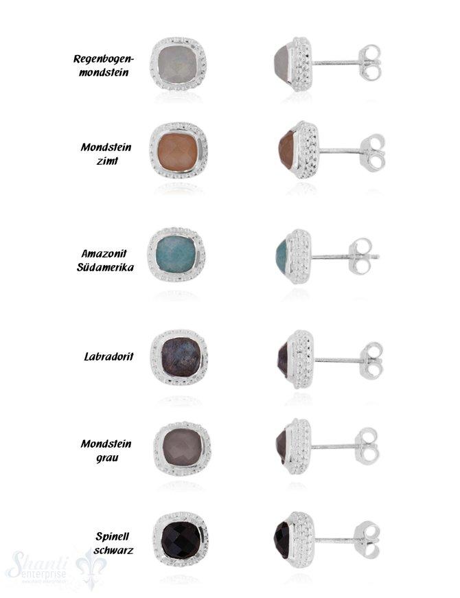 Ohrstecker Silber hell  facettiert quadratisch Fassung doppelreihig gepunktet 9x9mm