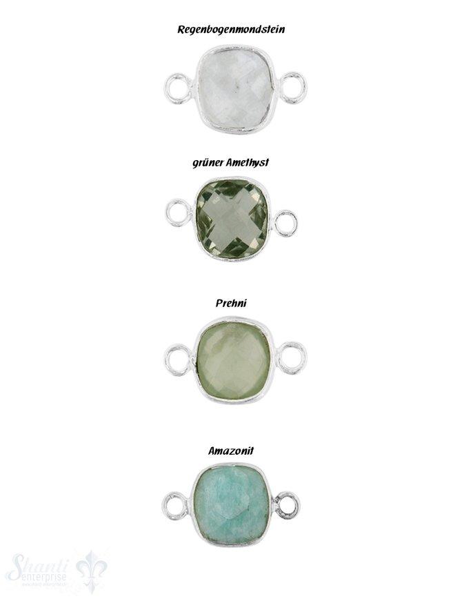 Silberteil mit Doppelösen und facettierem Stein 18 x 10 mm Ösen flach