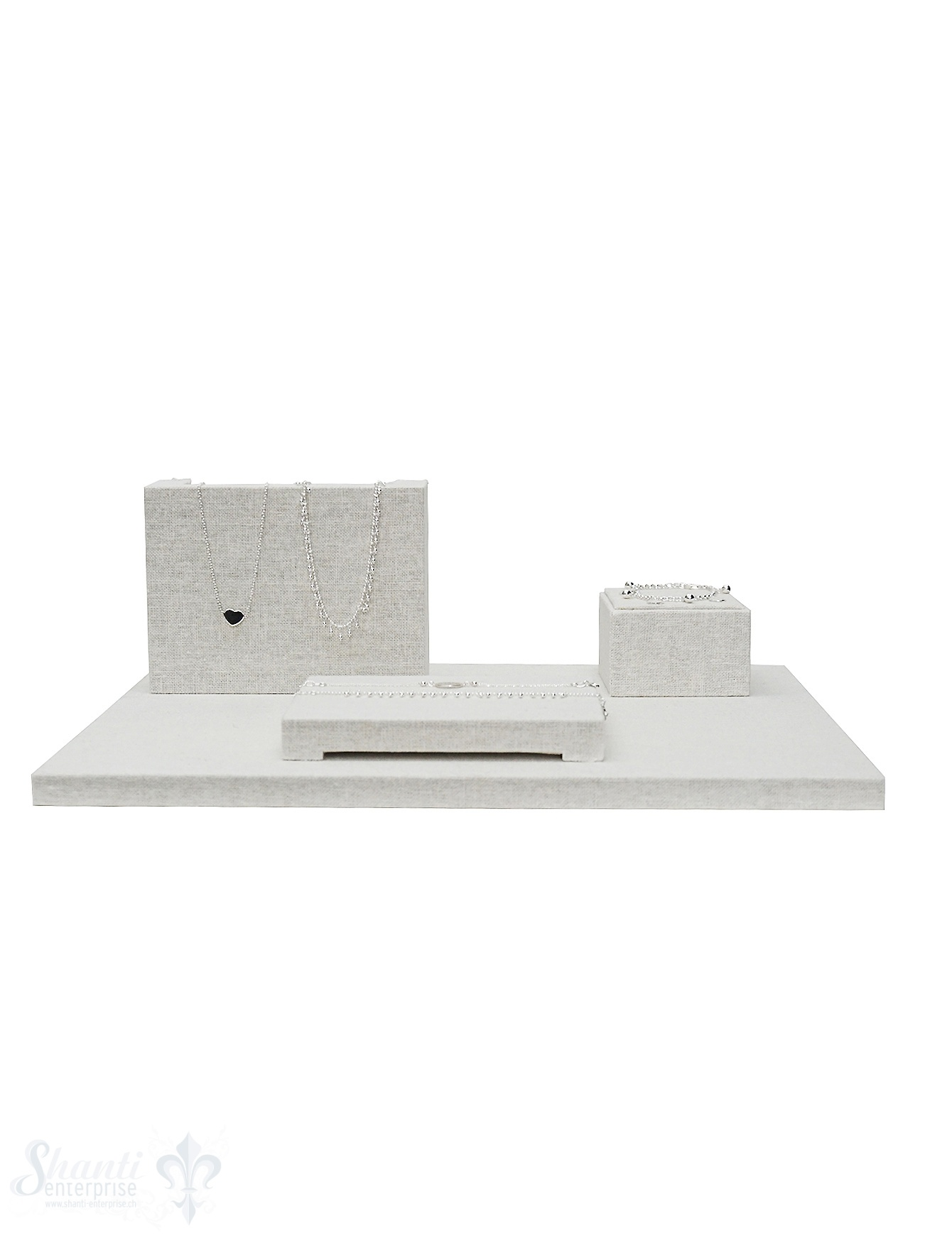Display Leinen Brett-Set weiss 40x30x1.5cm Set mit 3 Stk Display 16x12x4.5cm,.8x8x5 cm, 15.5x11.5x2 cm