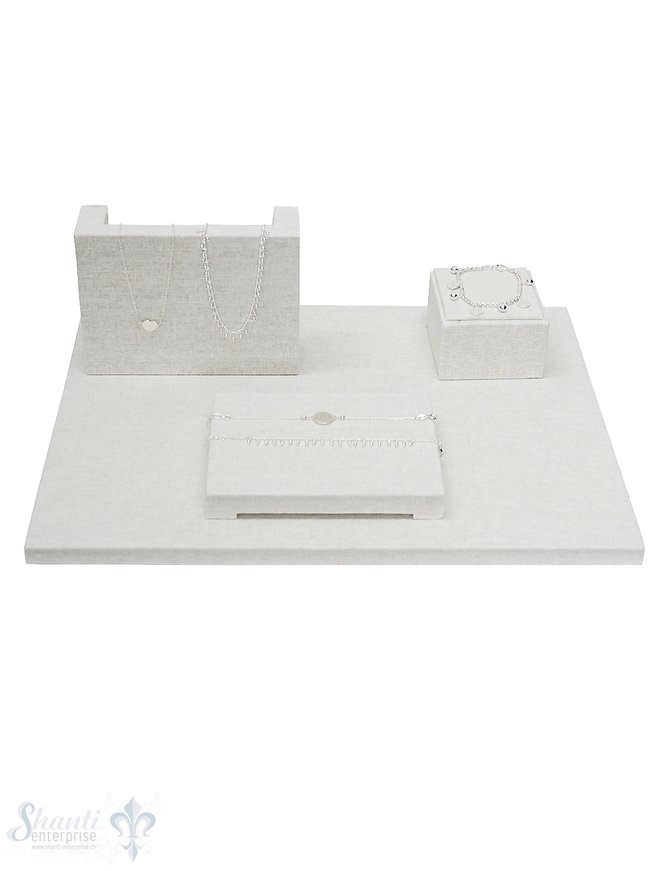Display Leinen Brett-Set weiss 40x30x1.5cm Set mit 3 Stk Display 16x12x4.5cm,.8x8x5 cm, 15.5x11.5x2 cm