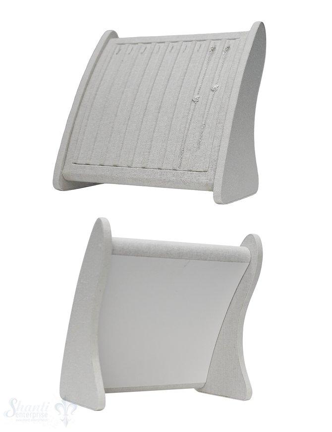 Display Leinen weiss Ständer mit Haken für  Ketten und Armbänder 25x28x14 cm