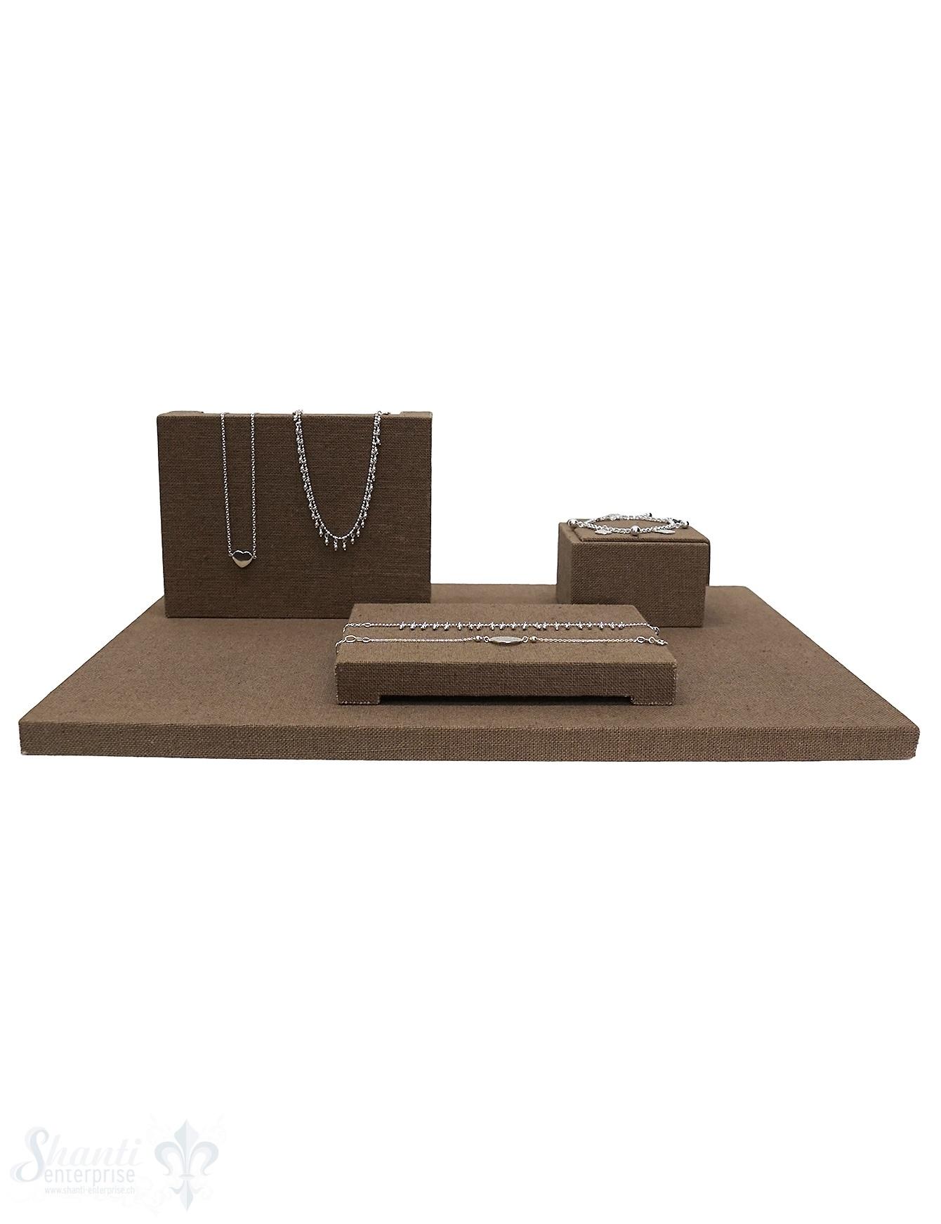 Display Leinen Brett-Set braun 40x30x1.5cm Set mit 3 Stk Display 16x12x4.5cm,.8x8x5 cm, 15.5x11.5x2 cm