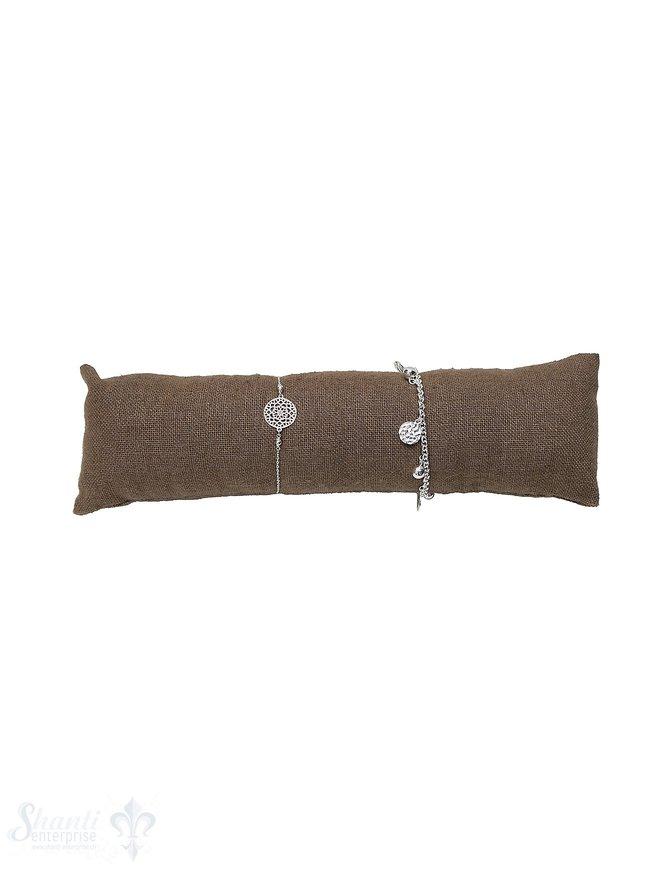 Kissen Leinen braun 24 cm lang 50 mm Durchmesser