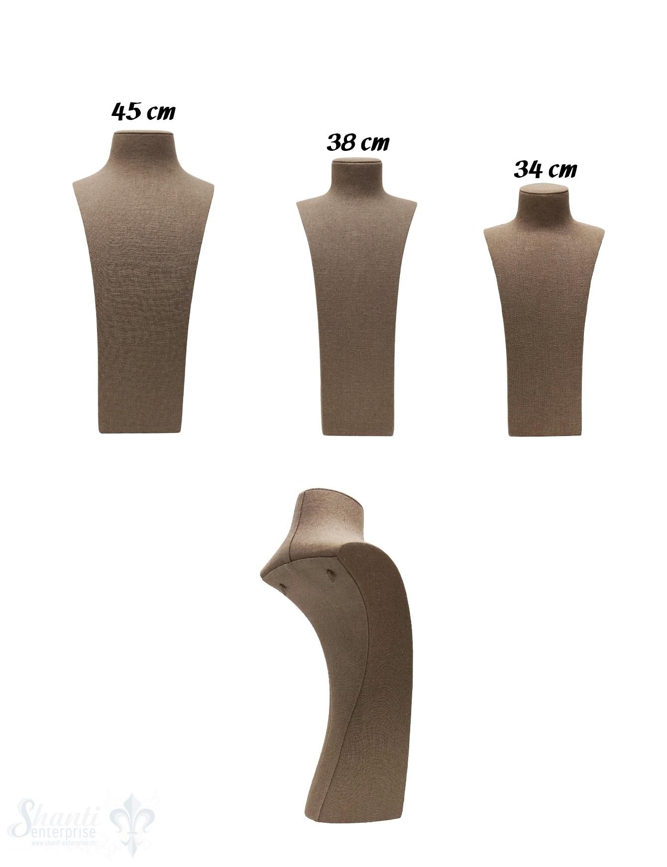 Display Leinen Büste braun  mit Haken hinten