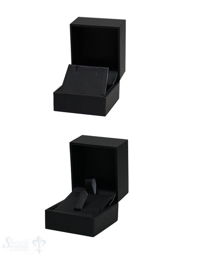Schachtel schwarz, Kunstleder innen, für Ring oder Ohrstecker 5 x 5 x 4,5 cm