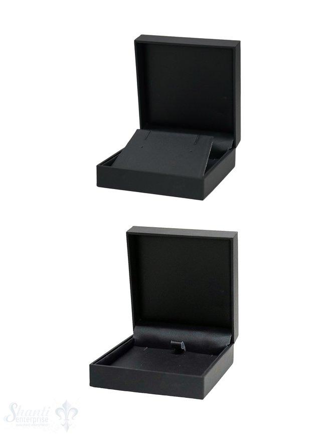 Schachtel schwarz, Kunstleder innen, für Anhänger oder Ohrstecker/ hänger 8,5 x 8,5 x 3,5 cm