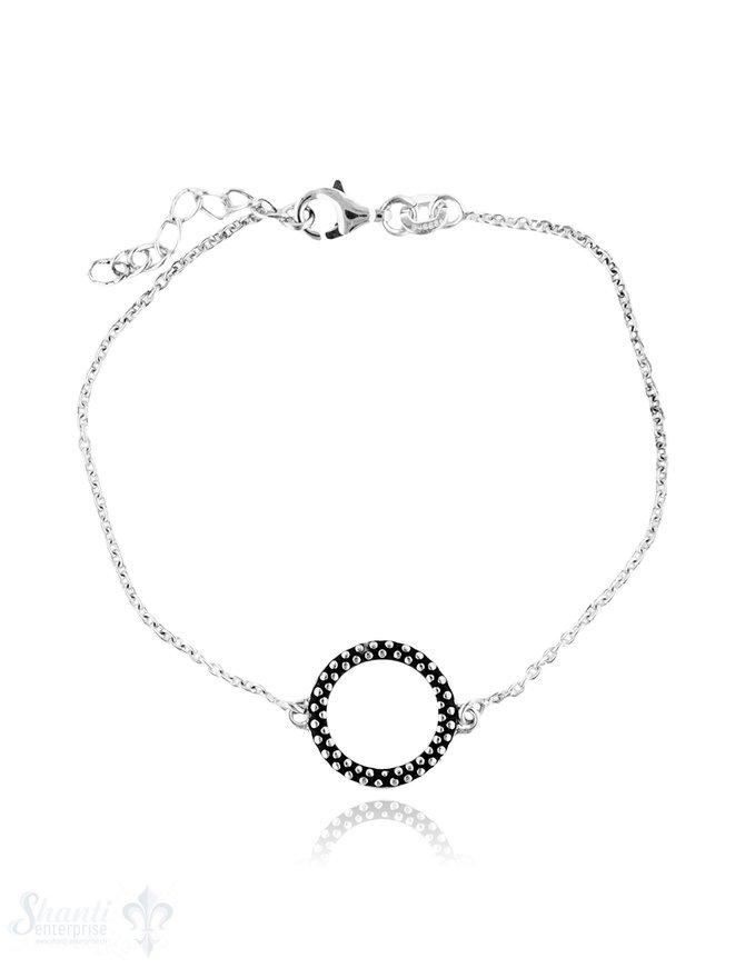 Armkette Anker fein Silber hell mit Kreis getupft geschwärzt 16-19 cm Grössen verstellbar Karabiner
