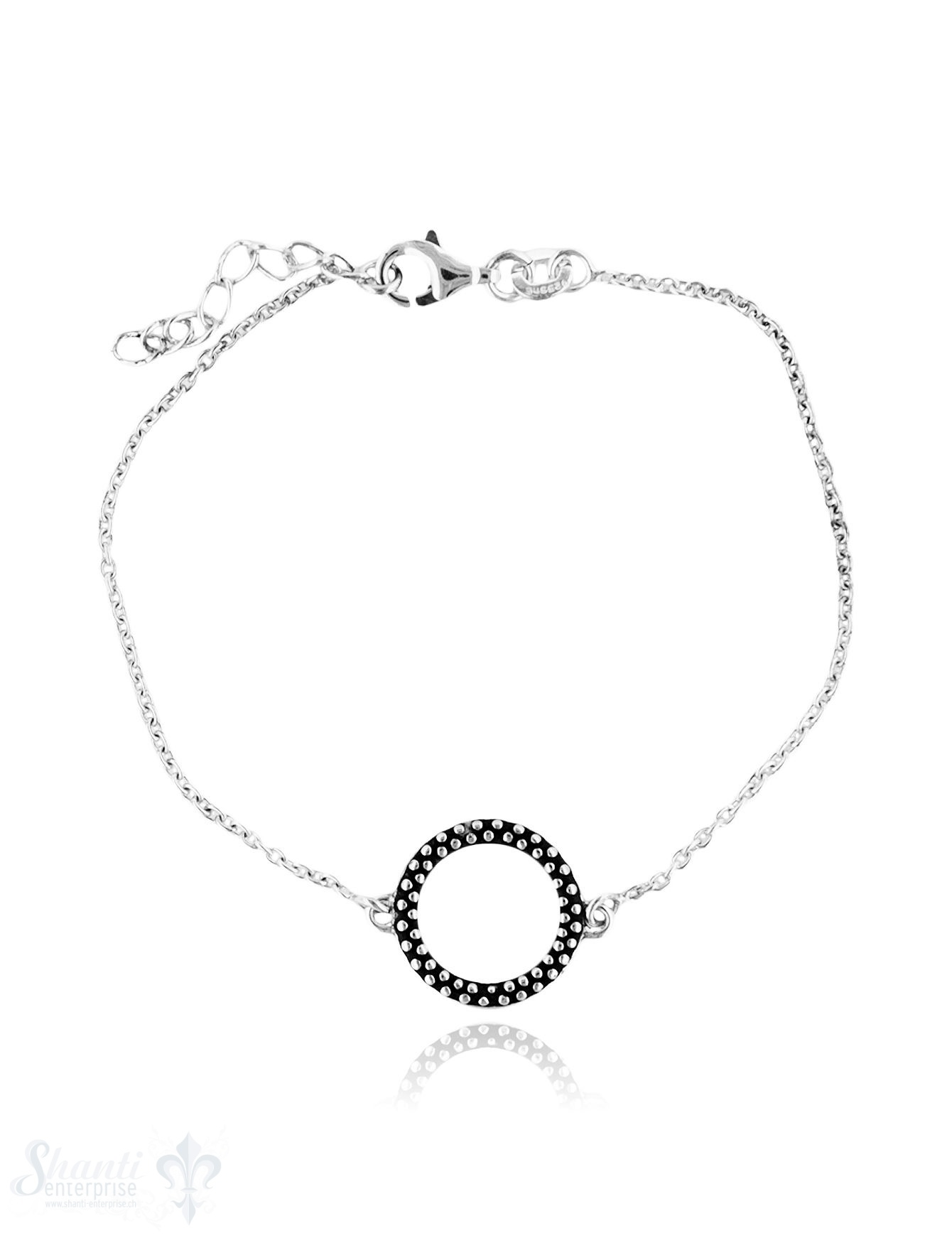 Armkette Anker fein Silber hell mit Kreis getupft