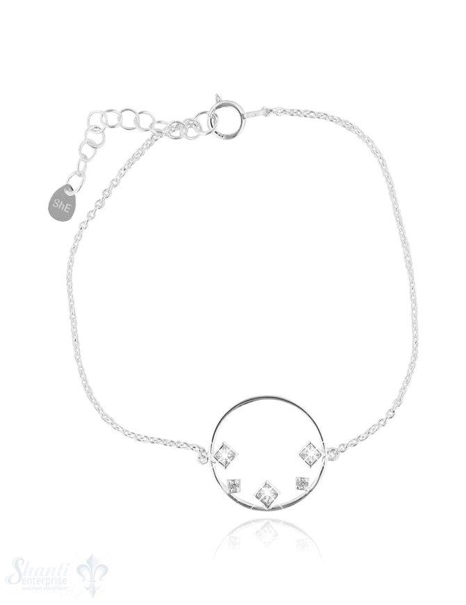 Armkette Anker fein Silber hell mit Kreis mit Quadrate Zirkonia weiss 16-19 cm Grössen verstellb Federringschloss