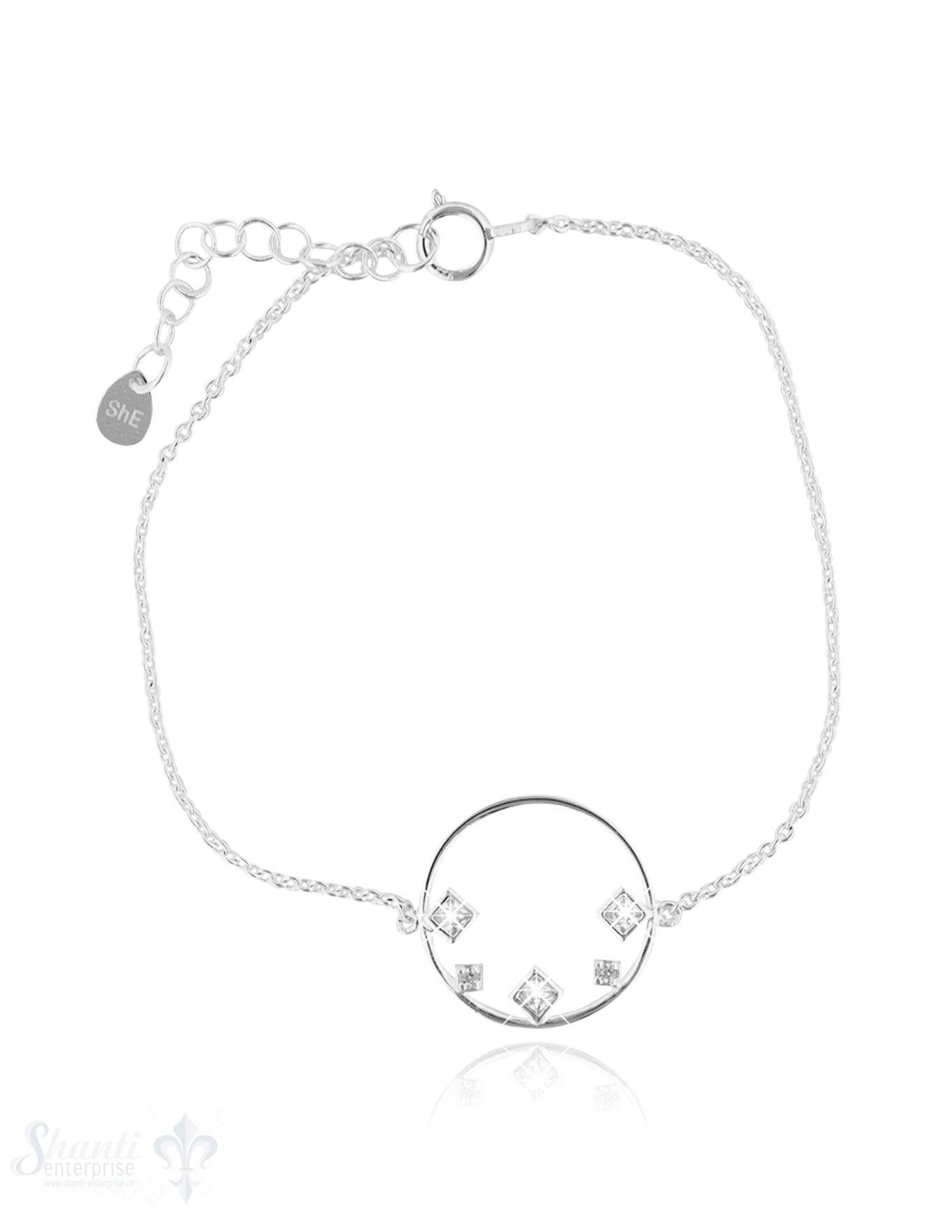 Armkette Anker fein Silber hell mit Kreis mit