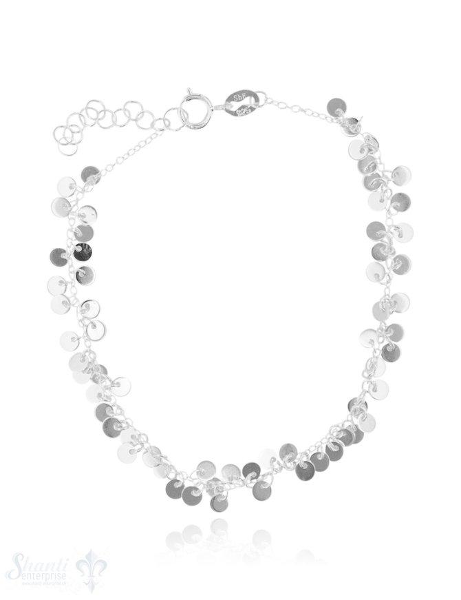 Armkette Silber hell Anker 17-19,5 cm mit vielen Plaquetten fein Federringschloss Grössen verstellbar ec