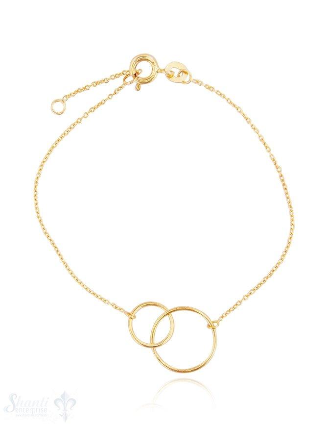 Silberarmkette: Ankerkette mit 2 Si-Reifen Grössenverstellbar 16/18 cm