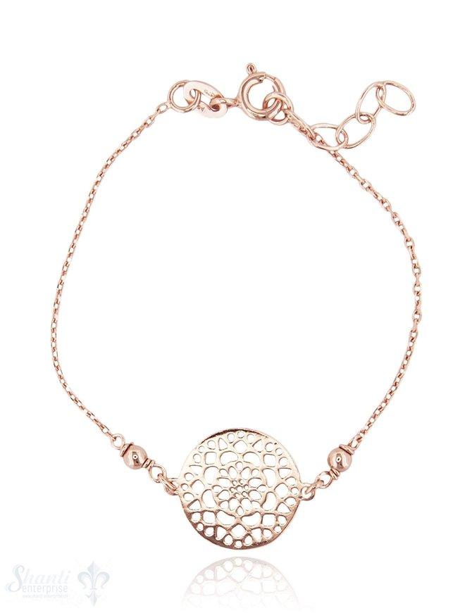 Silberarmkette: Ankerkette fac. mit Blumenscheibe Grössenverstellbar 15/17 cm