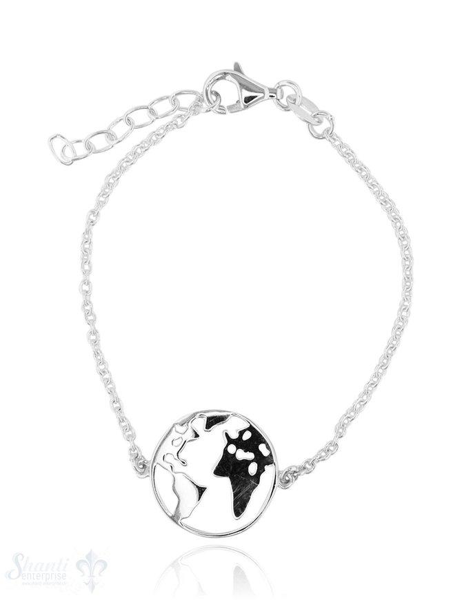 Armkette Anker fein Silber hell mit Weltkarte flac h 16-18 cm Grössen verstellbar Karabiner