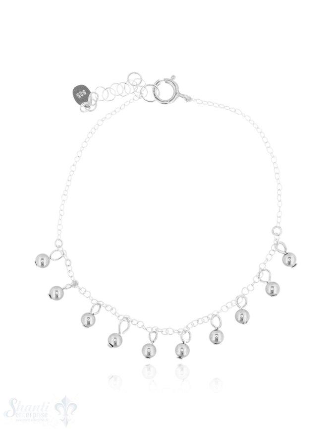 Armkette Silber Anker mit Kügeli-Charms 16,5-19 cm Grössen verstellbar Federringschloss eq