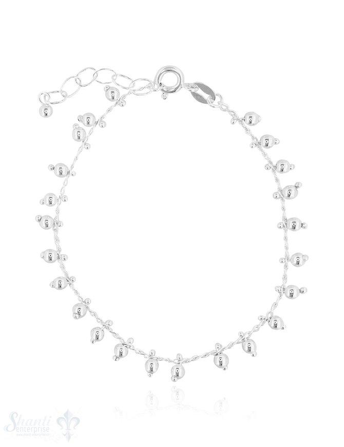 Silberarmkette hell Anker mit Kügeli-Charms 16,5- 19 cm Grössen verstellbar Federringschloss eq