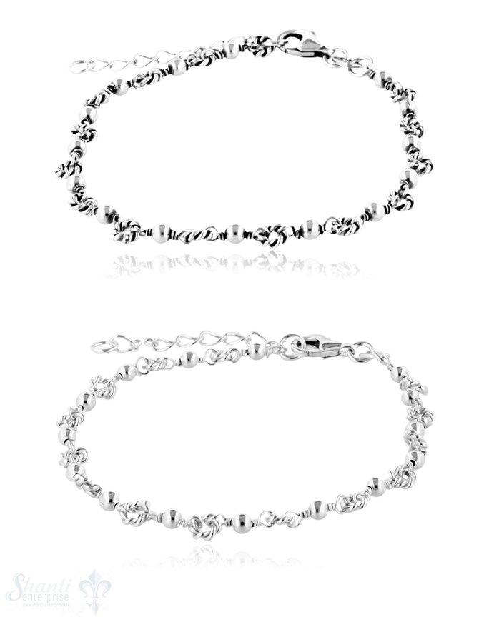 Armkette Silber Fantasie 16-18 cm verstellbar Karabiner
