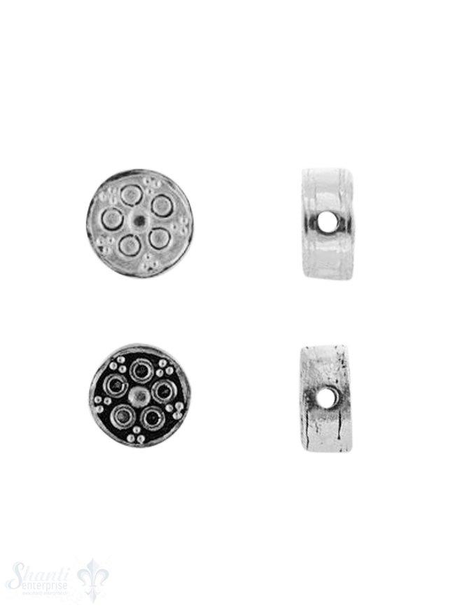 Zwischenteil Silber Blume gepunktet 8 mm Dicke 4.1 mm Loch 1.2 mm 1 Pack = 3 Stk.