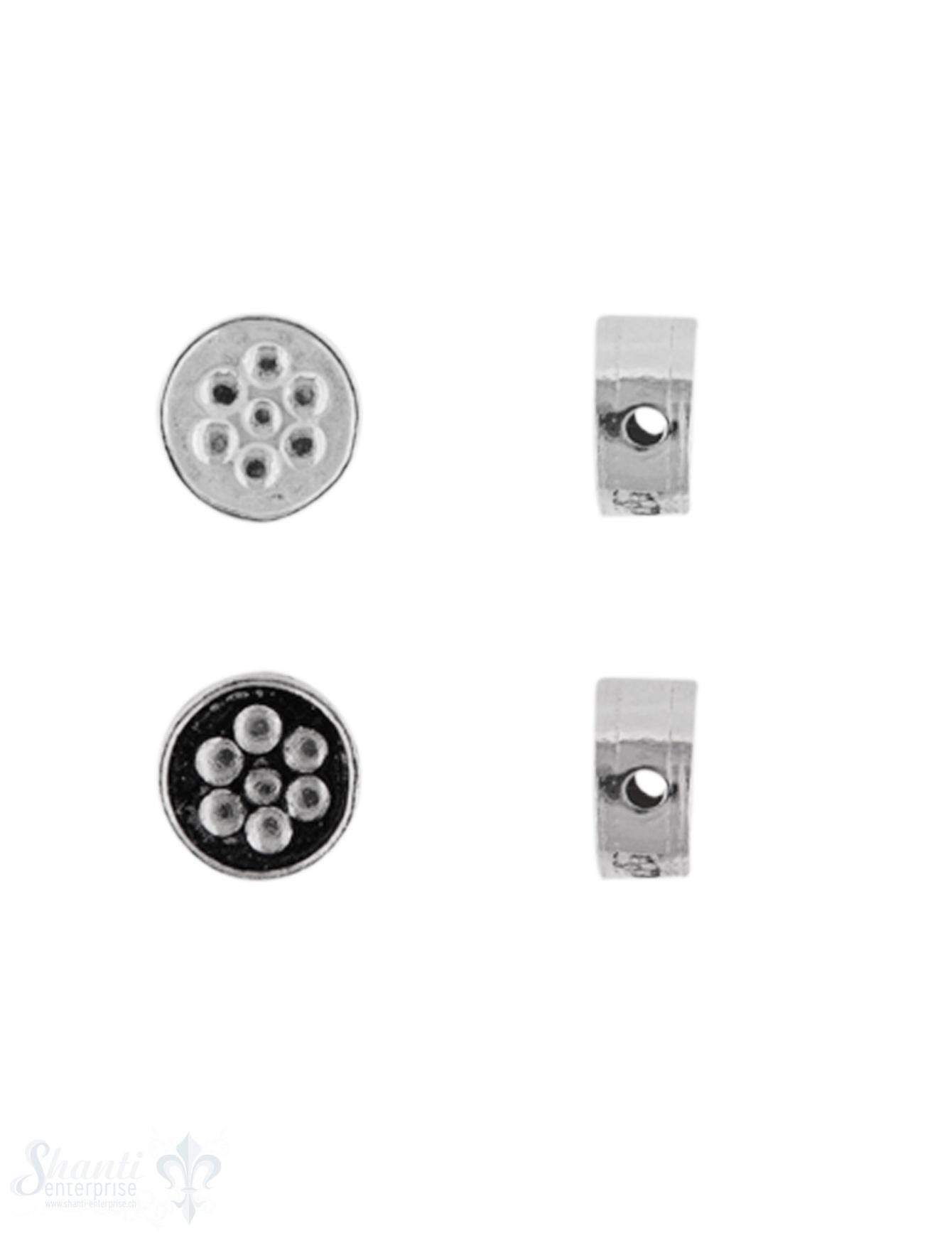 Zwischenteil Silber Rondelle mit Blume 8 mm Dicke 4 mm Loch 1.3 mm  Pack = 3 Stk.