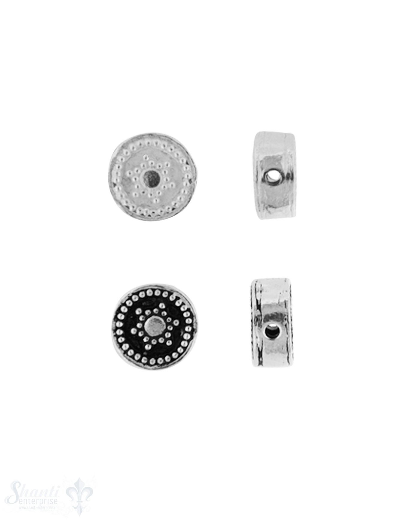 Zwischenteil Silber Rondelle mit Blume Stern 8 mm Dicke 4.2 mm Loch 1.3 mm Pack = 3 Stk.