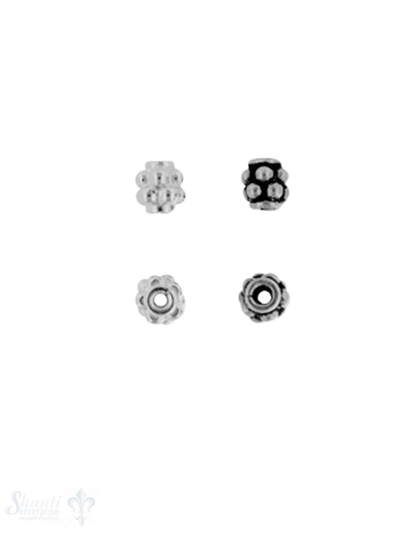 Zwischenteil Silber hell 2-reihig gepunktet 3 mm L