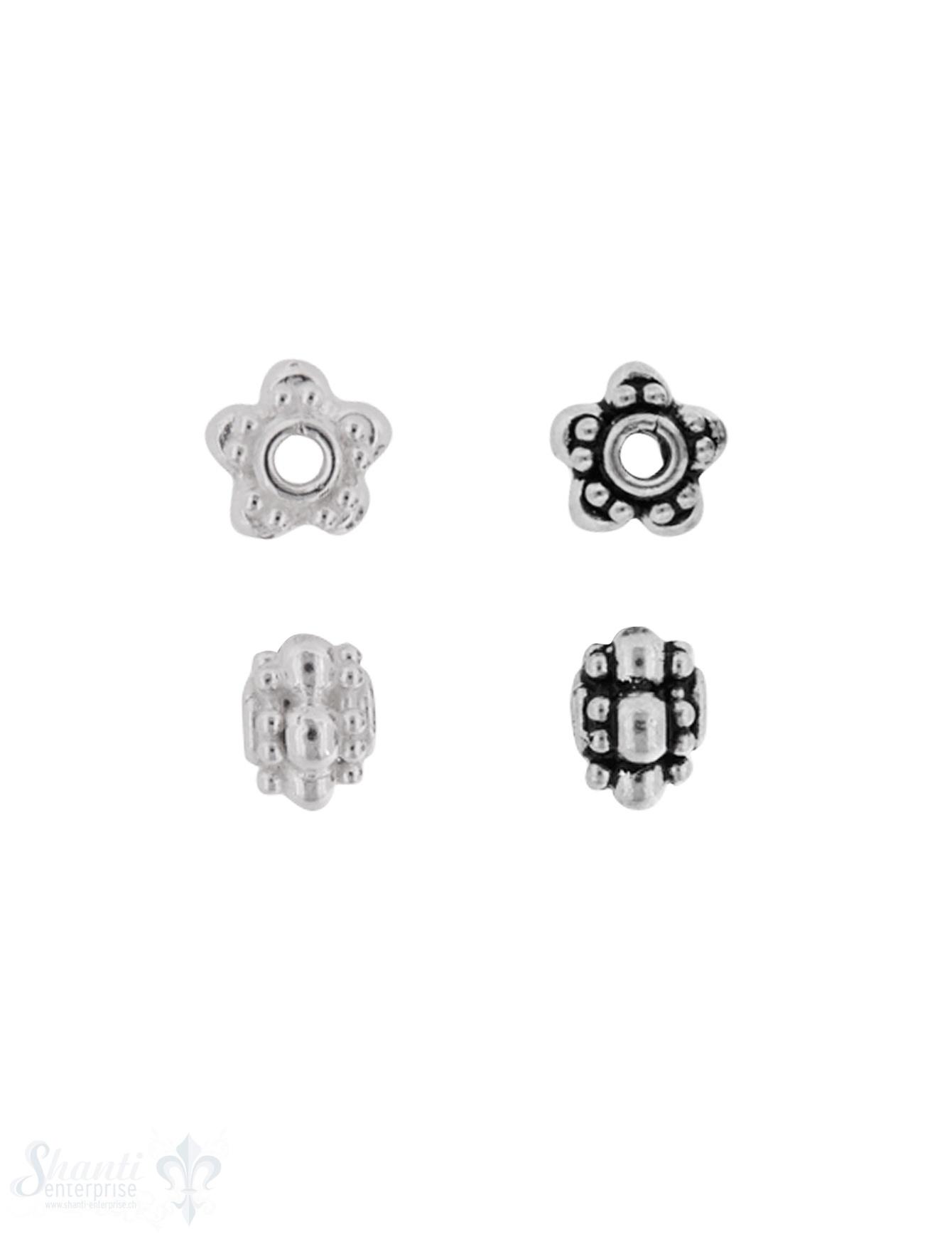 Zwischenteil Silber Blüemli breit verzi ert 9 mm Loch 2.2 mm Pack = 4 Stk.
