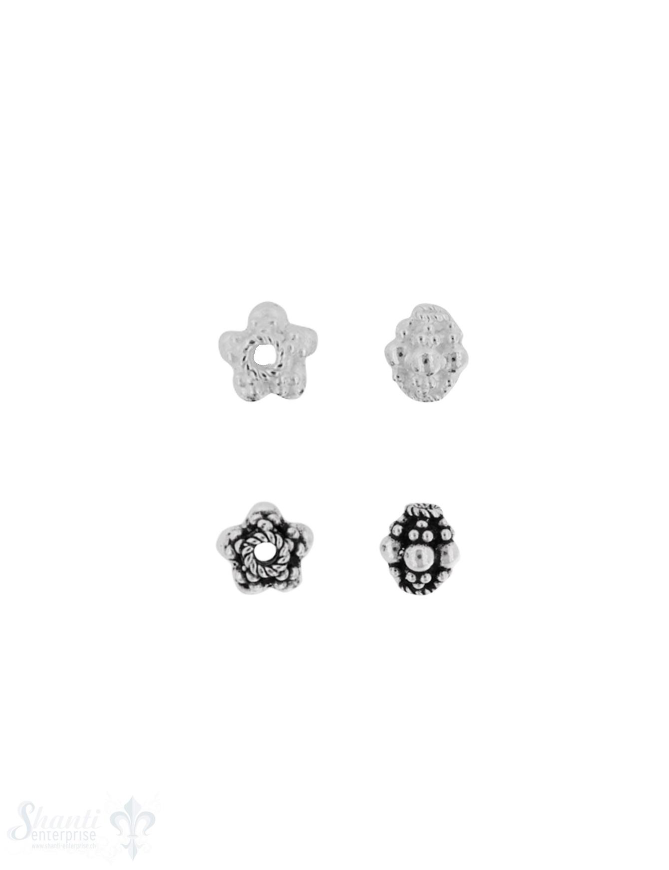Zwischenteil Silber Navette verziert 8x 7 mm Loch 1.5 mm Pack = 4 Stk.