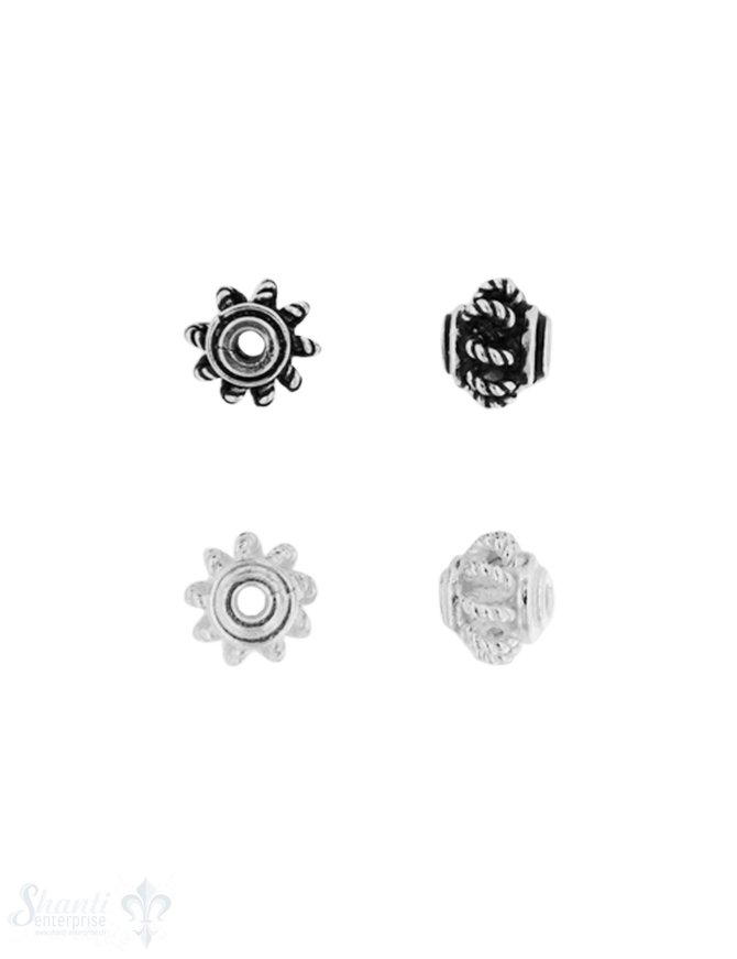Zwischenteil Silber Krone 7x6 mm Loch 1.6 mm durchb brochen verziert Pack = 9 Stk. ca. 5 gr
