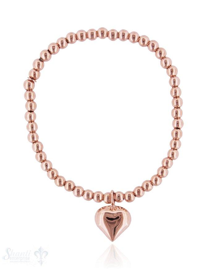 Armkette auf Elastik Silber Kügeli 4 mm mit Herz- Anhänger12 mm L:17 cm