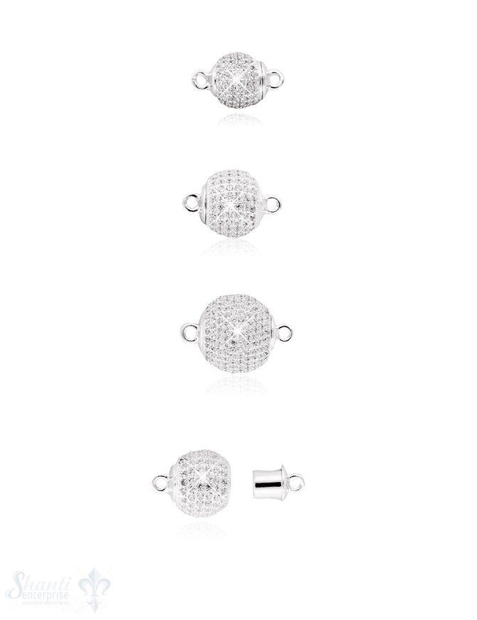 Magnetschloss Silber rund mit Zirkonia weiss