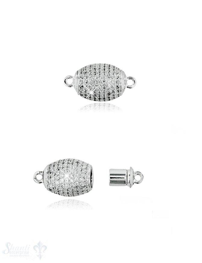 Magnetschloss Silber oval mit Zirkonia weiss 14x10 mm