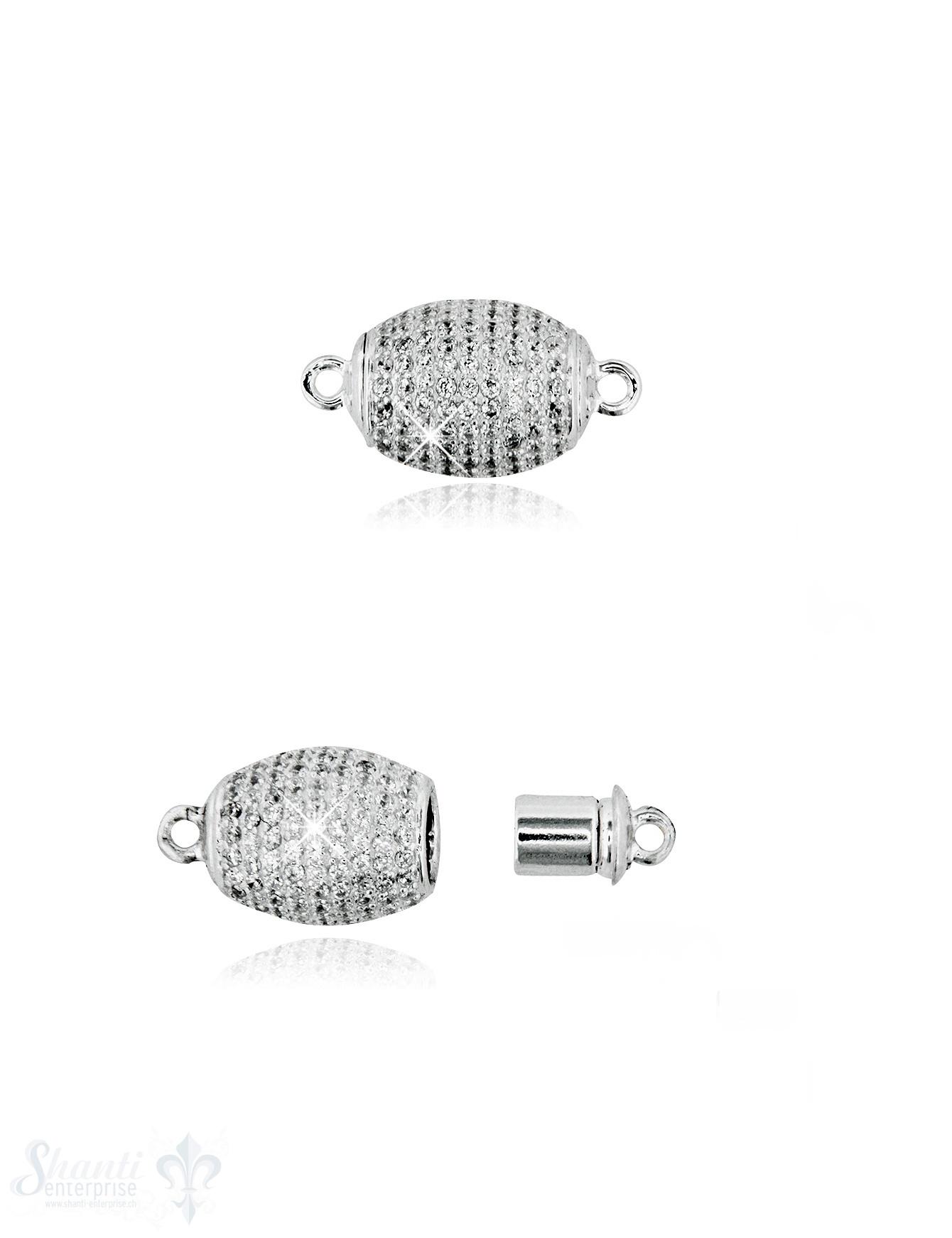 Magnetschloss Silber oval mit Zirkonia weiss