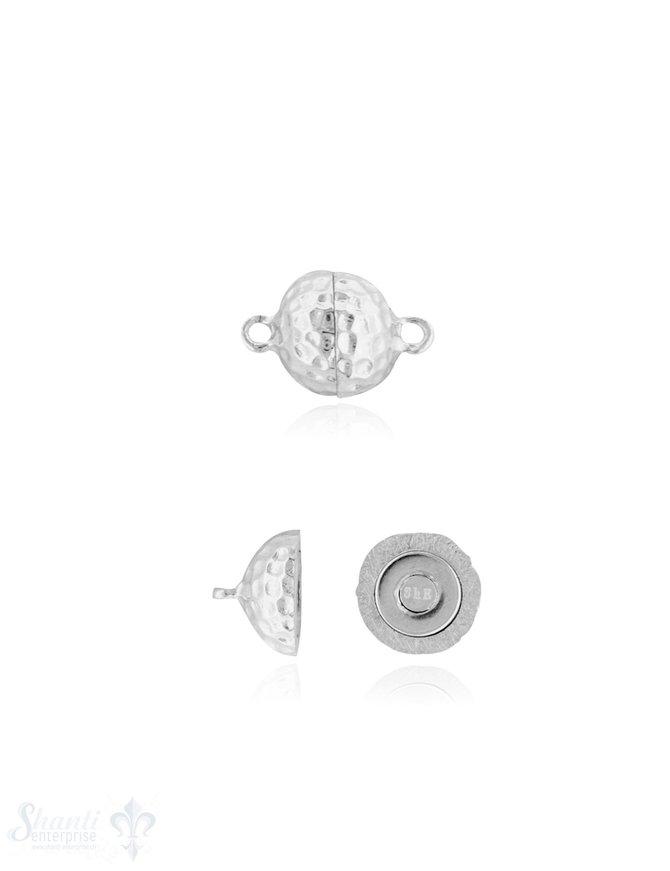 Magnetschloss Silber rund gehämmert 10 mm