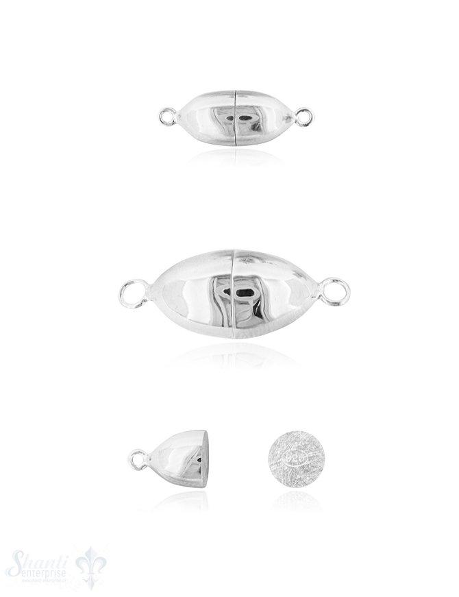 Silbermagnetschloss Oval mit Oese poliert