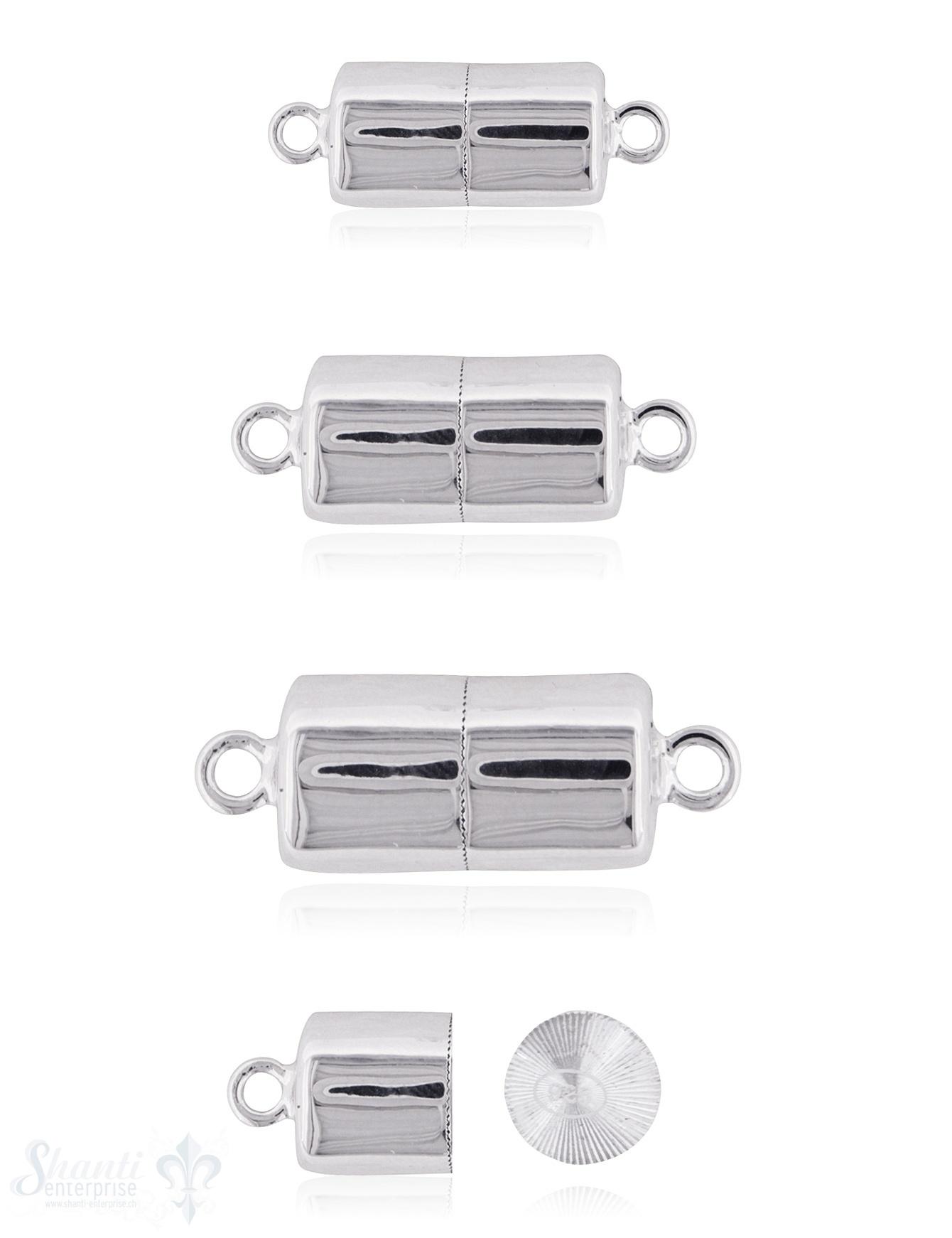 Silbermagnetschloss Zylinder-Form mit Öse poliert