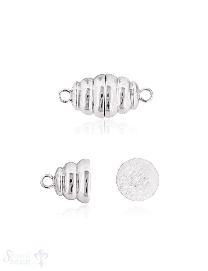 Silbermagnetschloss Oval unregelmässig gerillt, 12x26 mm mit Ösen poliert