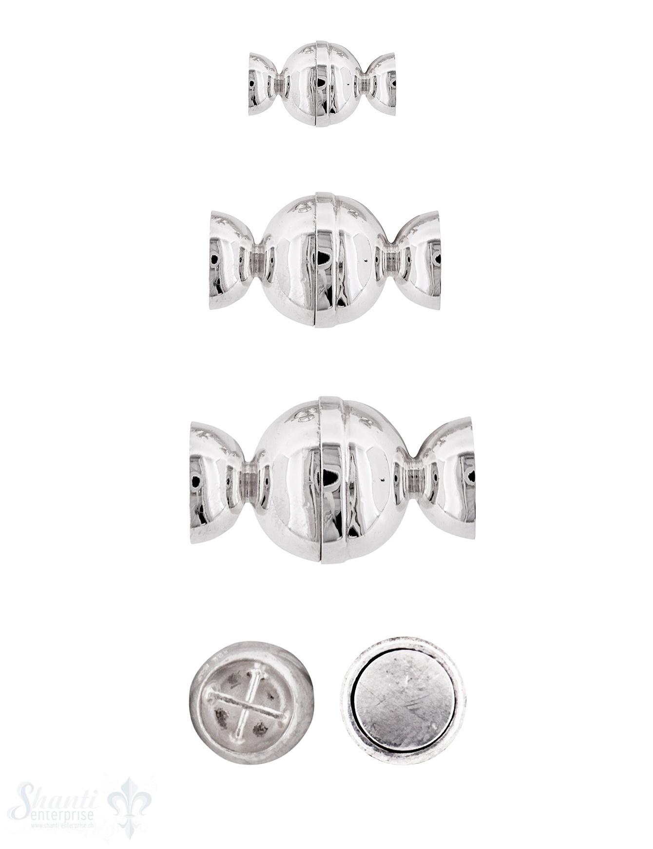 Silbermagnetschloss Kugel mit fixen Kappen 8-reihig tief gesetzt