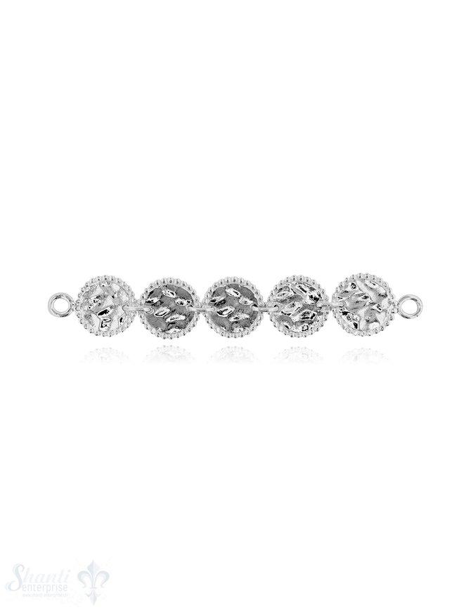Silberteil mit Doppelösen 5 Rondellen gehämmert Rand mit Punkten 1 Rondelle 12,5 mm Gesamtlänge 70 mm