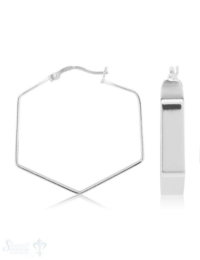 Creolen poliert 30mm flach 5,5 mm Sechskant unregelmässig mit Klick-Verschluss eq