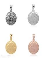 Anhänger Silber 20x15 mm Oval Ornament geomertrisch gepunktet mit Öse