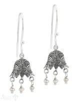 Ohrhänger Silber geschwärzt 13x16 mm Anhänger an verzierter Tulpe mit Bügel