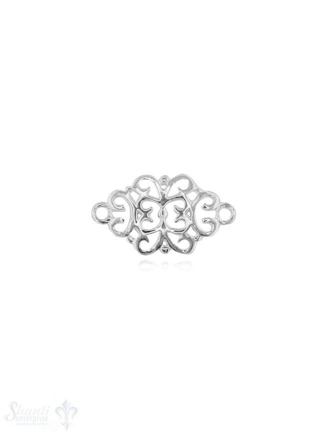 Silberteil mit Doppelösen Mandala durchbochen fein 17x9 mm 1 Pack = 2 Stück