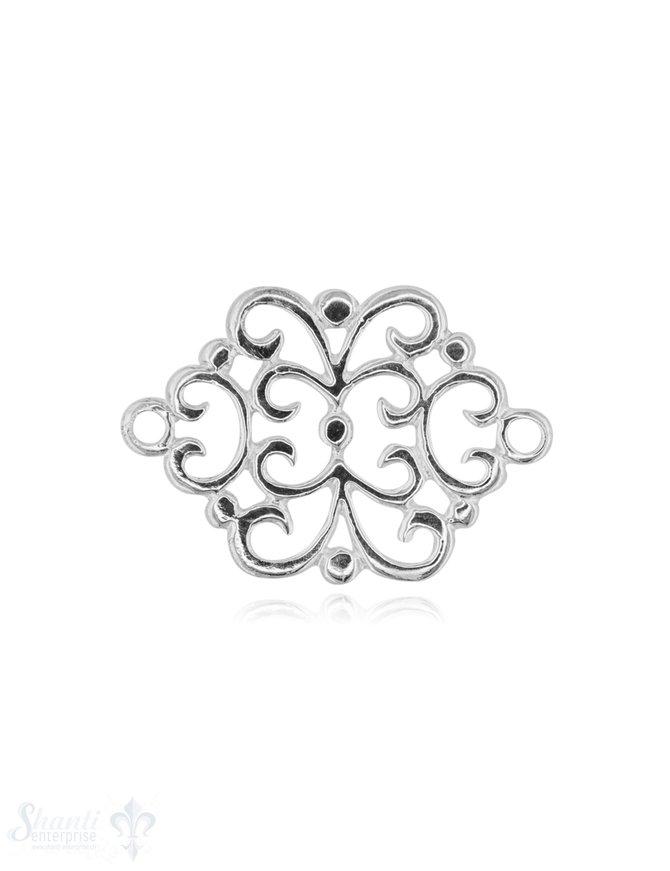 Silberteil mit Doppelösen Amulett Blumenmuster 21x28 mm durchbrochen