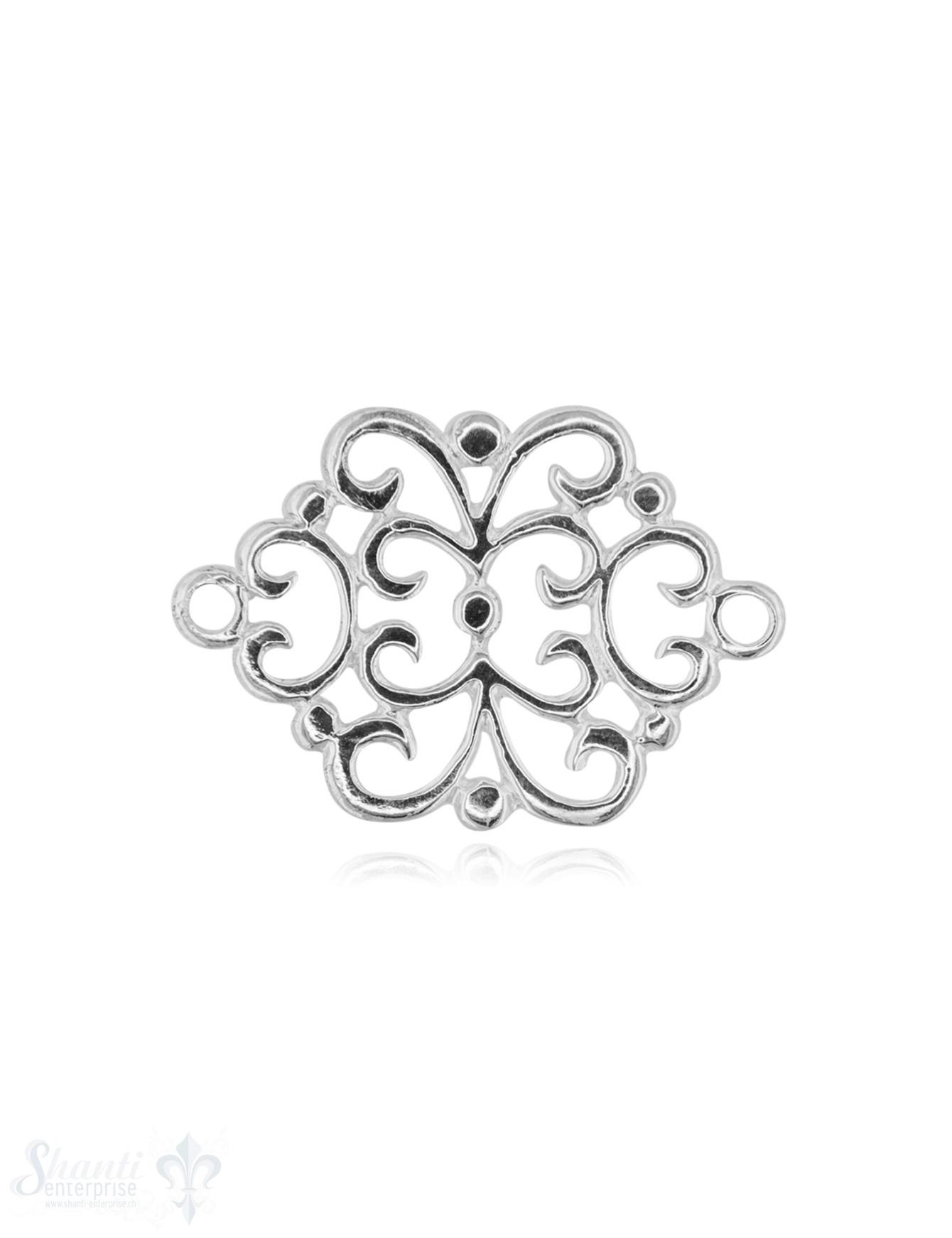 Silberteil mit Doppelösen Amulett Blumenmuster