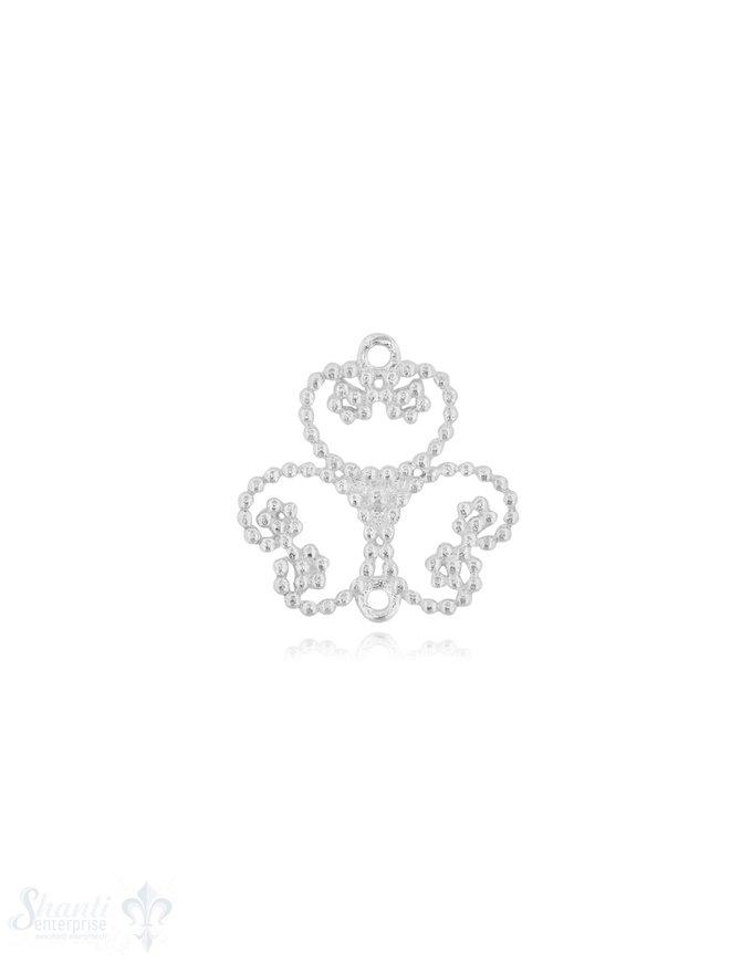 Silberteil mit Doppelösen 3 Herzen gepunktet 25x24 mm poliert