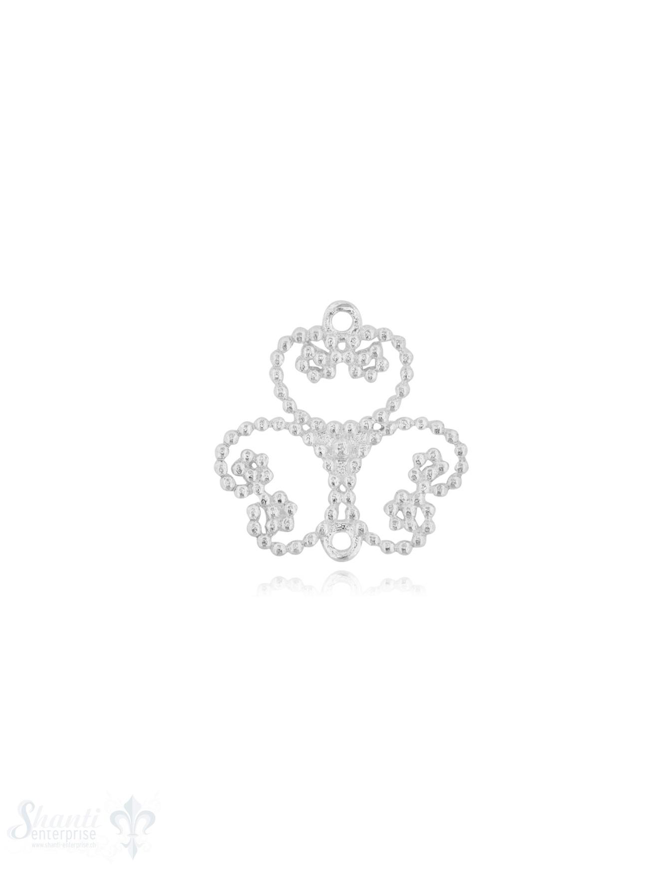 Silberteil mit Doppelösen 3 Herzen gepunktet 25x24