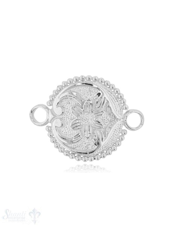 Silberteil mit Doppelösen Blume gewölbt 26x20 mm poliert 1 Pack = 1 Stk.