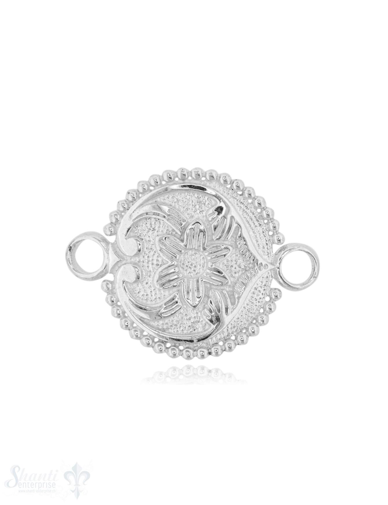 Silberteil mit Doppelösen Blume gewölbt 26x20 mm