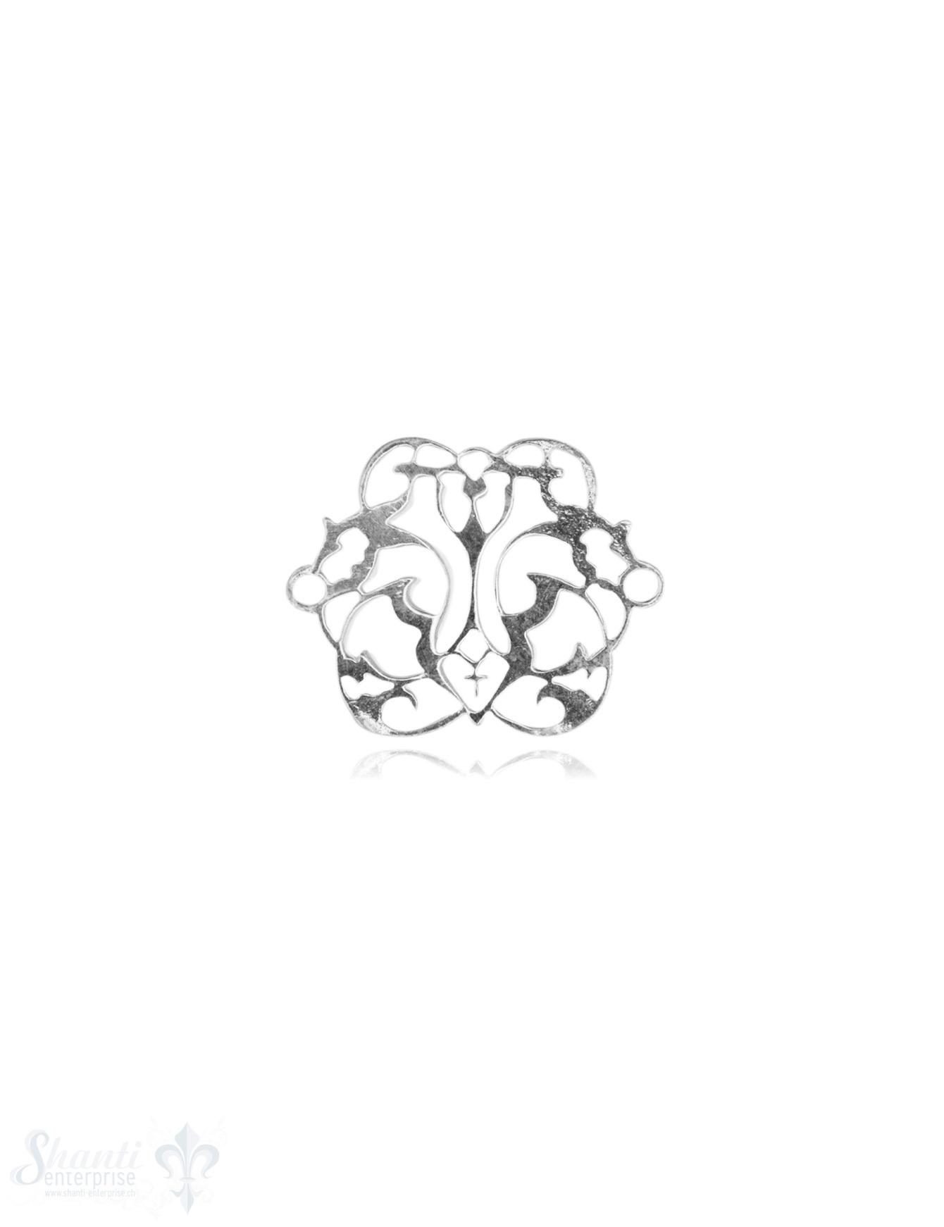 Silberteil mit Doppelösen filigran durchbrochen